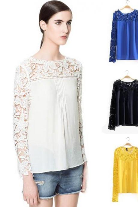 Lace Chiffon Long Sleeve Blouses Top