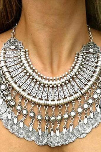 Retro Pop Boho Coin Necklace Belly Dance Ethnic Bohemian Festival Jewelry Free