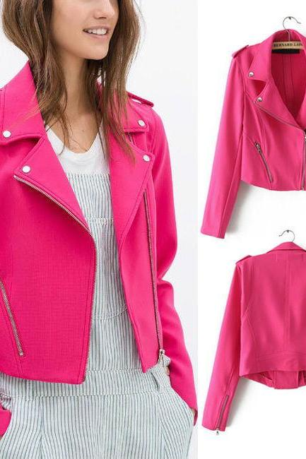 Neon Pink Leather Motto Jacket