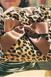 Fashion Leopard Grain Cosmetic Bag&Lovely Bow Bag