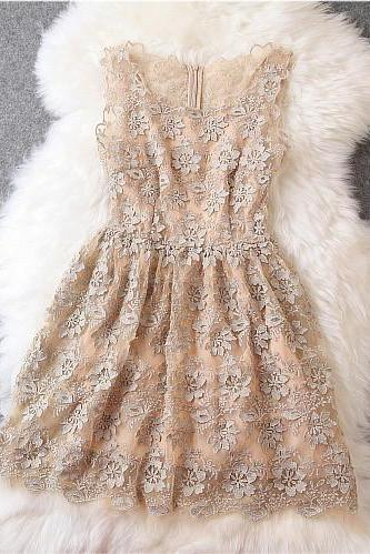 Lace Dress In Beige