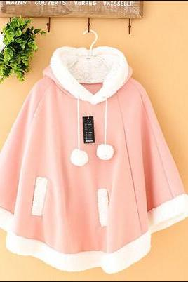 New Lolita cute bat hooded sweater shawl cape coat