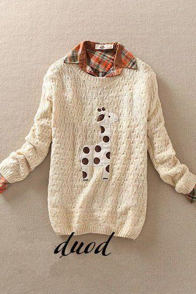 Beige Cute Giraffe Pattern Sweater