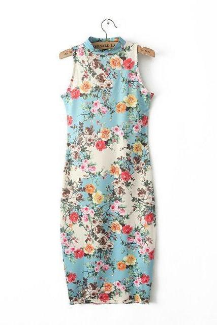 Floral Stretch Slim Package Hip Skirt Dress Vest Skirt Dress