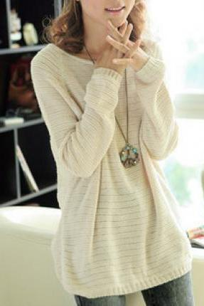 Beige Loose Bat Sleeve Hollow Sweater L 071303