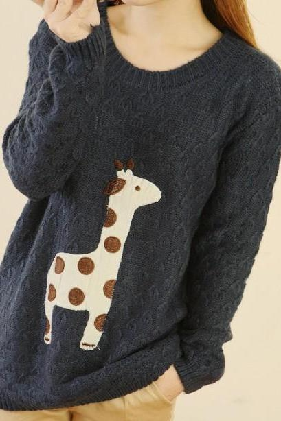Lovely Dots Giraffe Sweater-navy Blue