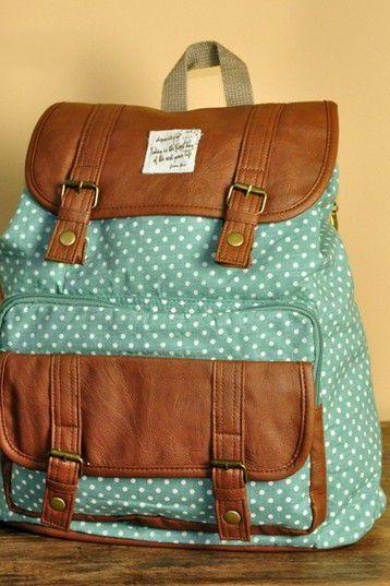 Mint Green Polka Dots Backpack - C