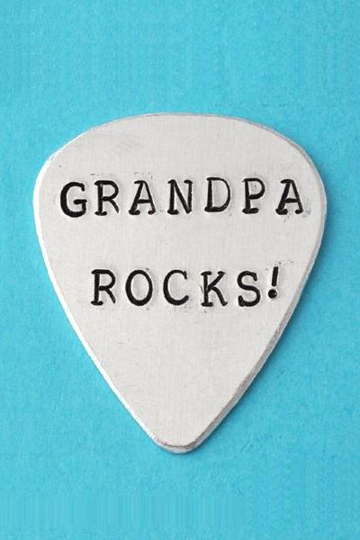 Guitar Pick, Personalized Guitar Pick Hand Stamped, custom Guitar Pick, father's day gifts, grandpa rocks, I pick you