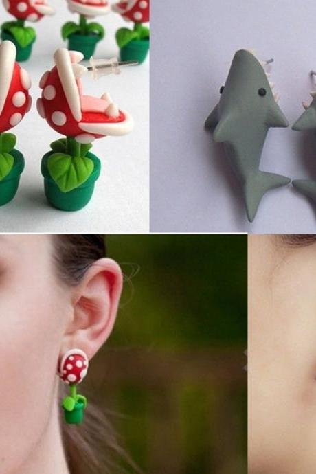 Fashion Popular Earrings Studs Cute Plant flower / Shark polymer clay earrings