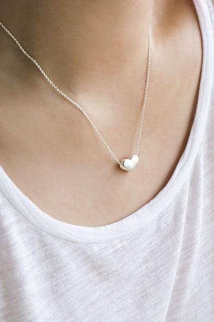 Silver Puffy Hearts Charm Necklace, Love Jewelry, Bridesmaid Gift