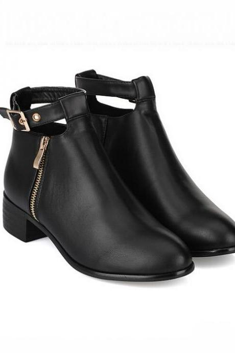 Side Zipper Design Chunky Heel Ankle Boots