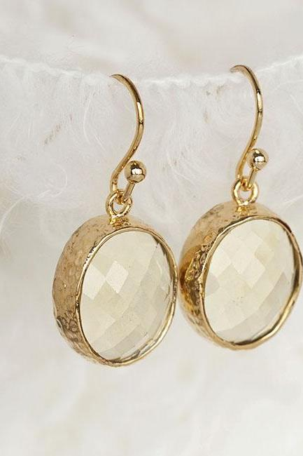 Oval Faceted Jonquil Dangle Earrings, Light Yellow Drop Wedding Cocktail Jewelry