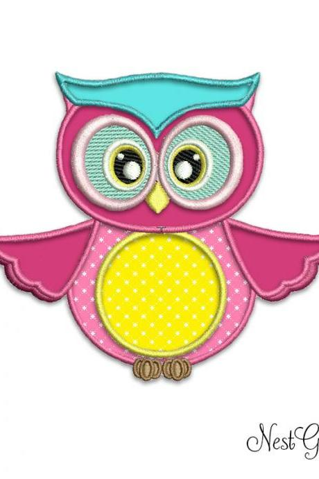 Girly Owl Digital Embroidery - Digital Applique Pink Owl pattern for machine embroidery, download embroidery file