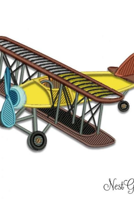 Digital Biplane applique for embroidery - Download embroidery applique file Biplane design