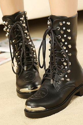Studded Black Lace up Boots