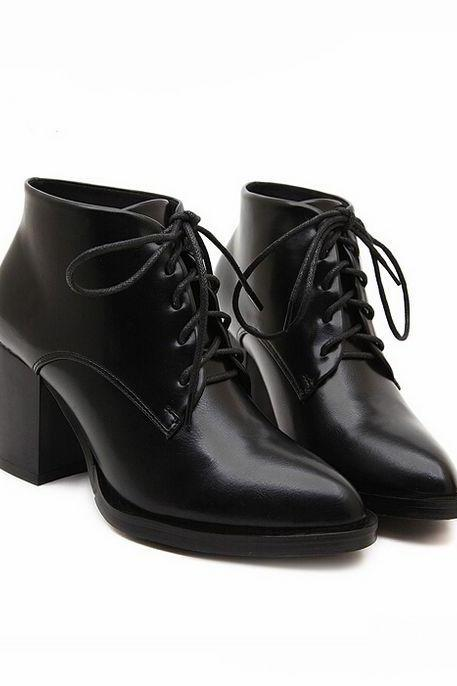 Pointed toe Black Lace up Ankle Boots