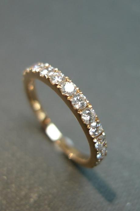 0.54ct Diamond Wedding Ring in 14K Rose Gold