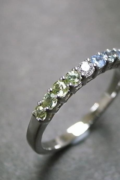 Diamond Wedding Ring with Peridot and Blue Topaz in 14K White Gold