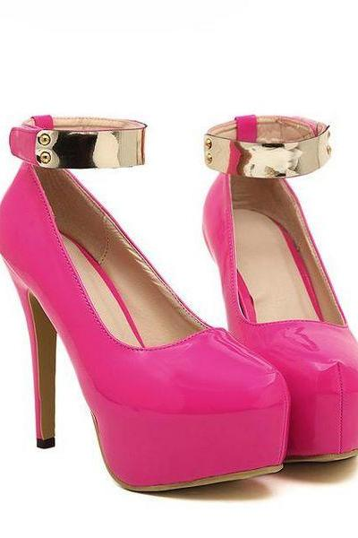 Metallic Ankle Strap Design High Heel Shoes in Rose Red