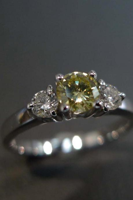 Diamond Yellow Sapphire Engagement Wedding Ring in 14K White Gold