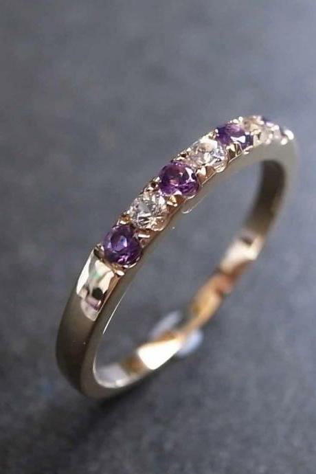 Amethyst and White Sapphire Gemstones Ring in 14K Yellow Gold