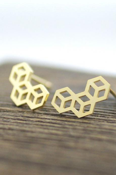 3D Tiny Cube Squares stud earrings in gold