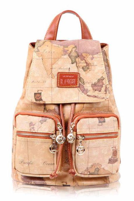 Fashion World Map Printing Bucket-shaped Travel Backpack