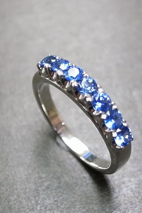 Blue Sapphire Wedding Ring in 18K White Gold