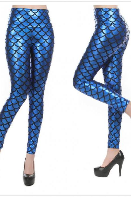 Blue Mermaid Leggings-Mermaid Tights-Yoga pants-NOT mermaid jewelry-little mermaid costume-adult mermaid tail-women mermaid art socks pillow leg