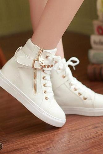 Women'S Fashion Zipper Rivet Casual Shoes