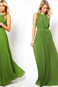 Europe and the United States Green Pleated Dress Dress