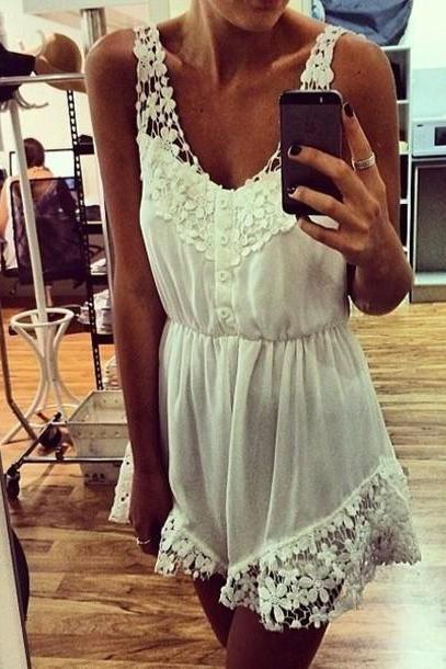 Super Lovely White Lace Snow Spins Jumpsuit 2014, Lace Jumpsuits