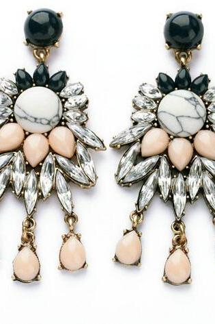 Free shipping Charm Vintage Retro Resin Crystal Jewellery Fashion Womans Stud Dangle Earrings