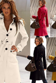 Europe and the United States cashmere waist slim wool coat