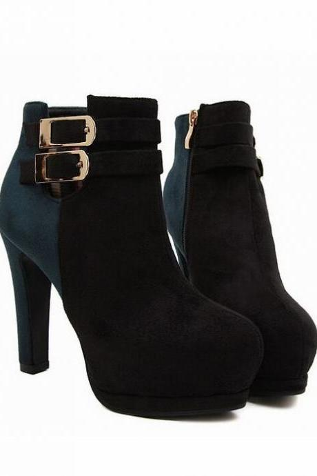 Color Block Suede High Heel Boots