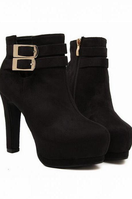 Pure Black Suede High Heel Boots