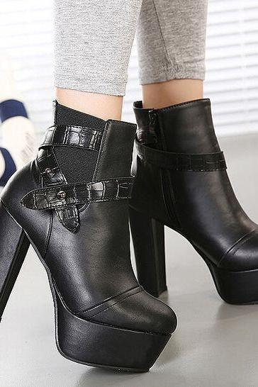 Pure Black High Heel Boots