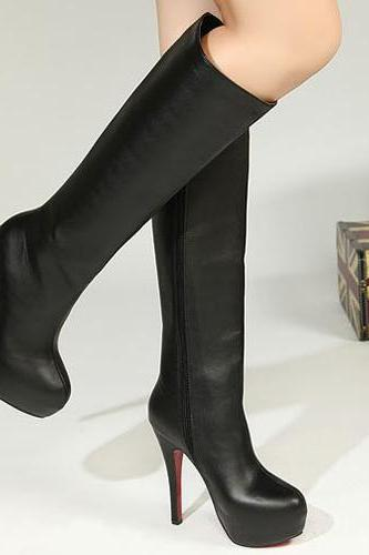 Cheap Winter Fashion Round Toe Zipper Design Stiletto Super High Heel Black PU Over the Knee Martens Boots