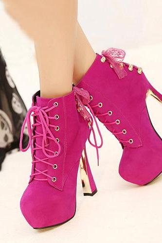 Cheap Winter Fashion Round Toe Lace Up Chunky Super High Heel Peach Suede Ankle Martens Boots