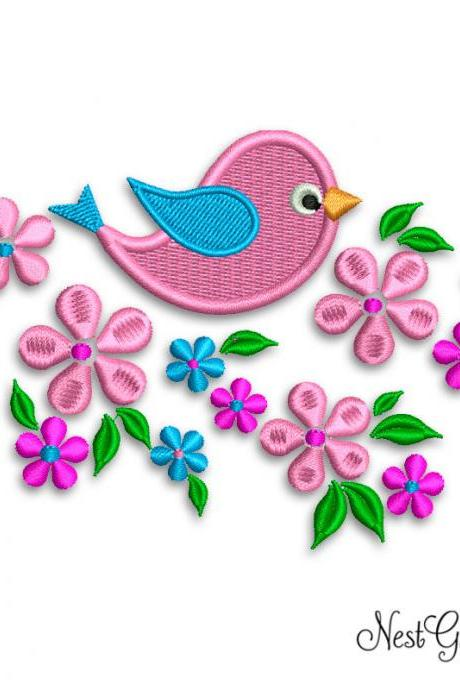 Machine Embroidery Light Pink Bird and Flowers Design Applique, download embroidery file