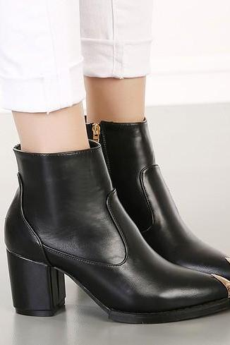 Black Leather Pointed Toe Ankle Boots Featuring Metal Embellishment