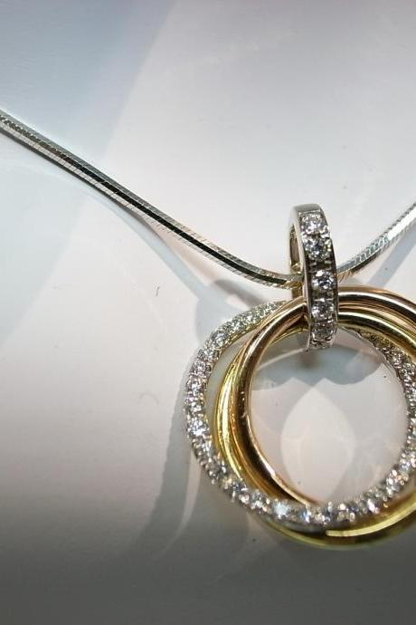 Circle of Life Diamond Pendant in 18K White Gold