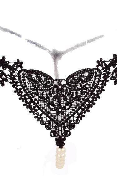 Lace Sweet Heart Honeymoon Charming Pearl Thong