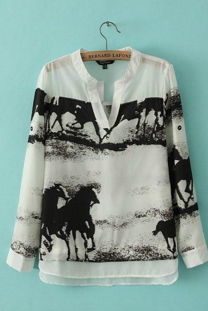 European style Ink galloping horse V-neck silk shirt white long-sleeved shirt