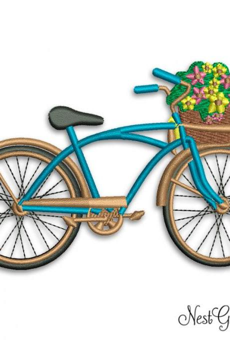 Machine Embroidery Flower Basket Bike - Digital Applique Embroidery file