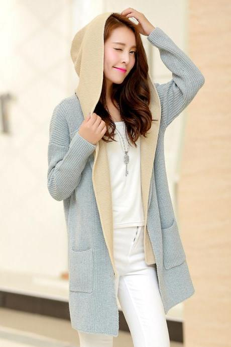 The new two-piece women's winter hooded sweater coat sweater woman