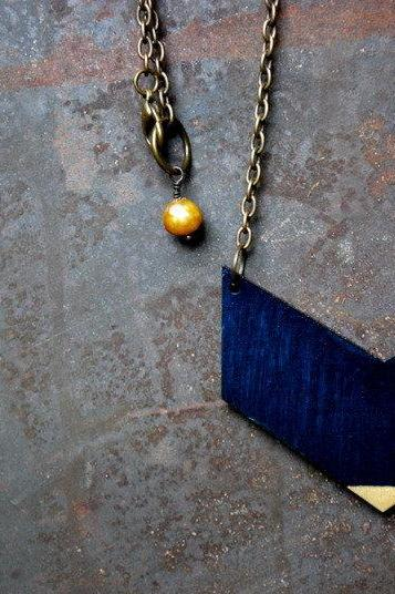 Midnight Blue Chevron With Gold Tip Necklace