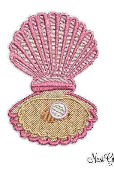 Sea Shell Digital Embroidery Applique file, Machine Embroidery design file