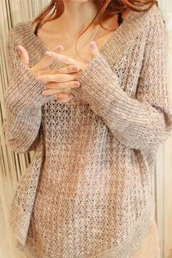 Sexy V-Neck Long-Sleeved Loose Knit Sweater Bat