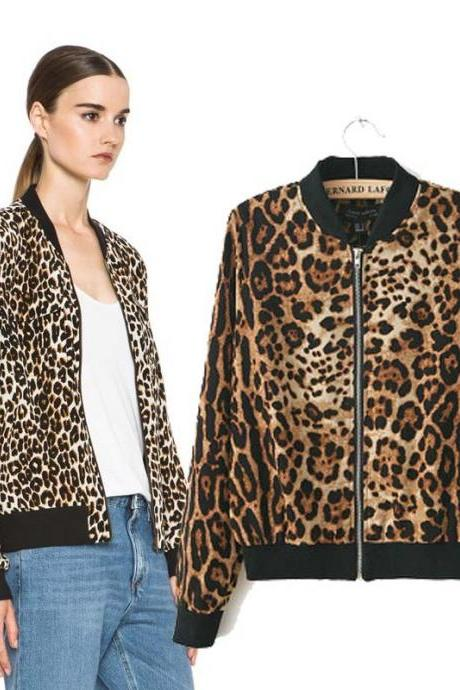 Leopard collar short coat jacket women coat jacket Slim